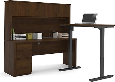 Bestar® Prestige+ L-Desk, Hutch, and Electric Height Adjustable Table: Chocolate