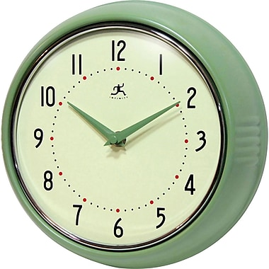 Infinity InstrumentsHome Essential Retro Iron Wall Clock, Green Gloss Finish, Round, 9.5