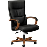 HON Topflight SofThread Leather Executive High-Back Chair, Fixed Arms, Wood Trim, Bourbon Cherry, Black NEXT2018 NEXTExpress