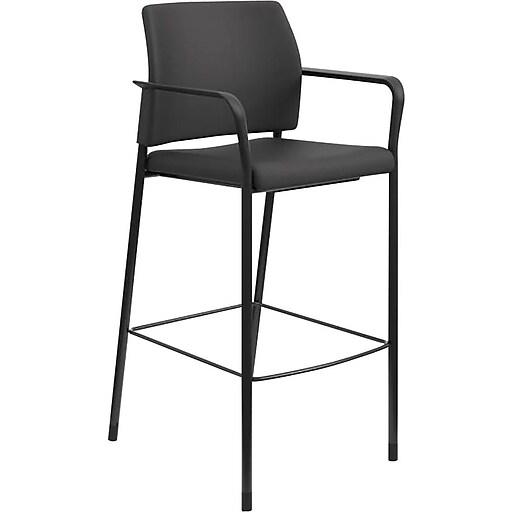 HON Accommodate Cafe Stool, Fixed Arms, Black Fabric, Textured Black Frame (HONSCS2FECU10B)