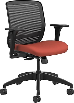 HON® Quotient™ Office Chair with Adjustable Arms, Mesh/Fabric, Black/Poppy, Seat: 19