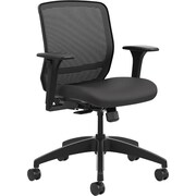 HON Quotient Mesh Back Task Chair, Synchro-Tilt, Adjustable Arms, Black Mesh, Black Fabric NEXT2018 NEXT2Day