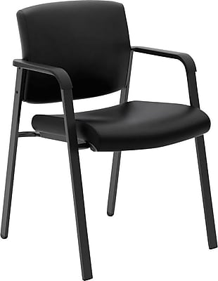 HON Validate Stacking Guest Chair, Black SofThread Leather NEXT2018 NEXTExpress