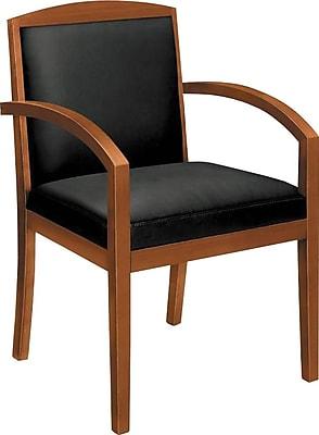 HON Topflight Guest Chair, Wood Frame, Bourbon Cherry Finish, Black SofThread Leather (BSXVL853HSB11)