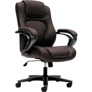 HON High-Back Executive Chair, Center-Tilt, Fixed Arms, Brown Vinyl NEXT2018 NEXTExpress