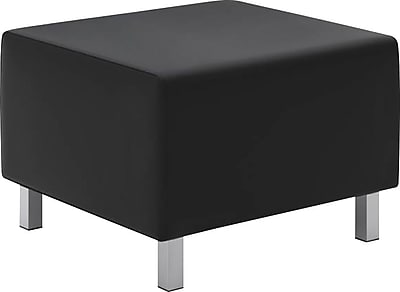basyx by HON® VL862 Modular Lounge Ottoman, Leather, Black, Seat: 25