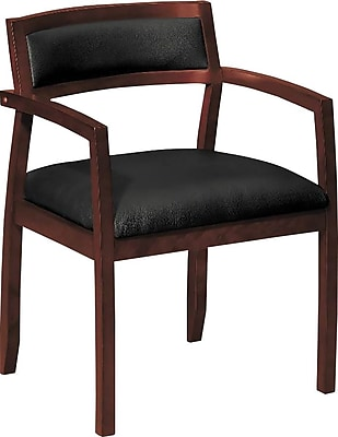 HON Topflight SofThread Leather Guest Chair, Wood Frame, Mahogany Finish, Black NEXT2018 NEXT2Day
