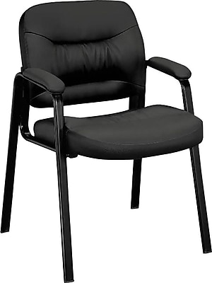 HON Charge Guest Chair, Fixed Arms, Black SofThread Leather NEXT2018 NEXTExpress