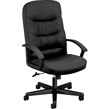 basyx by HON® VL641 Executive High-Back Office/Computer Chair, Black SofThread Leather, Seat: 21