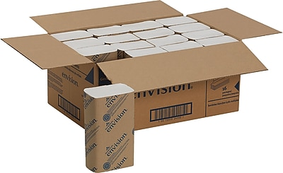Envision® Recycled Multi-Fold Towels, White, 1-Ply, 4,000/Case