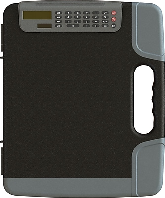 Staples® Portable Clipboard with Calculator, Heavy Duty, Black, 14 3/8'' x 12'' x 1 5/8'' ( 2 ½'' with calculator clip)