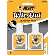 BIC Wite-Out Brand Quick Dry Correction Fluid White 2/Pack (WOFQDP24-A-WHI)