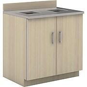 "Safco 36""H Modular Break Room Waste Management Base Cabinet, Vanilla/Gray (1707VS)"