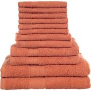 Lavish Home 12 Piece 100% Cotton Towel Set - Brick
