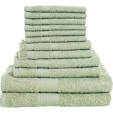 Lavish Home 12 Piece 100% Cotton Towel Set - Sage Green