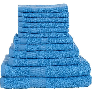 Lavish Home 12 Piece 100% Cotton Towel Set - Blue