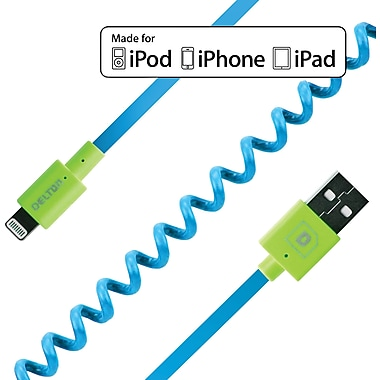 FLEX Coiled Sync and Charge Cables - Neon Blue