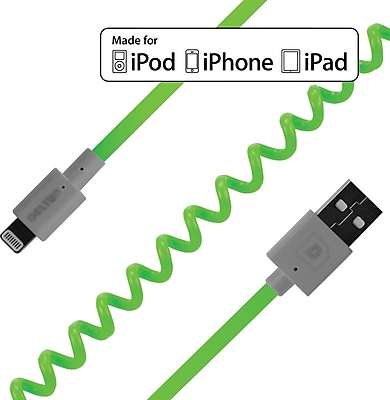 Delton 6 Foot FLEX Coiled Sync and Charge Cables - Neon Green