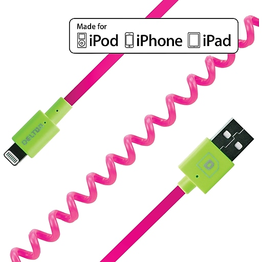 FLEX Coiled Sync and Charge Cables - Neon Pink