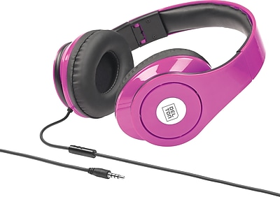 Delton Sonic Wave 1000 DJ Headphones with Mic, Neon Pink