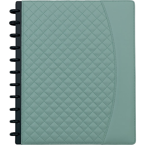 """Staples® Arc System Customizable Quilted PU Leather Notebook System, Mint, 9-1/2"""" x 11-1/2"""", 60 Sheets"""