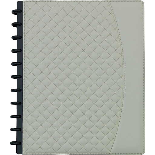"""Staples® Arc System Customizable Quilted PU Leather Notebook System, Ivory, 9-1/2"""" x 11-1/2"""", 60 Sheets"""
