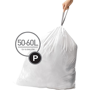 simplehuman® Custom Fit Trash Bags, Code P, 13-16 Gallon, 200 Bags/Box