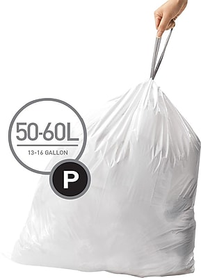 simplehuman Code P Custom Fit Trash Can Liner, 200 commercial pack, 50-60 Liter / 13-16 Gallon