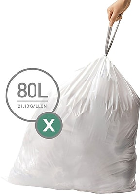 simplehuman Code X Custom Fit Trash Can Liner, 200 commercial pack, 80 Liter / 21 Gallon