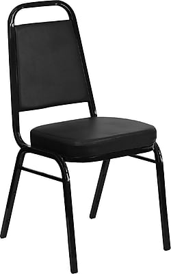 Iceberg® Banquet Chairs with Trapezoid Back, Black/Black, 4/Carton