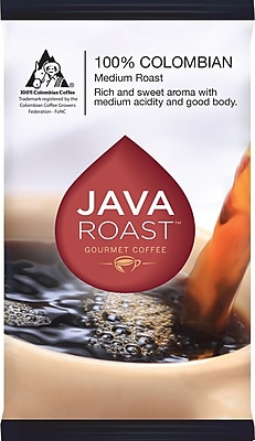 Java Roast Gourmet Colombian Ground Coffee with Filters Regular, 1.25 oz., 42 Packets (BHS50366)