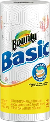 Bounty® Basic Paper Towel Rolls, 1-Ply, 30 Rolls/Case (Prints) (80238973)
