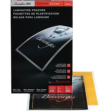 Swingline™ GBC® EZUse™ Thermal Laminating Pouches, Menu Size, 3 mil, 100 Pack
