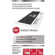 Swingline™ GBC® UltraClear™ Thermal Laminating Pouches, Business Card Size, 7 Mil, 100 Pack
