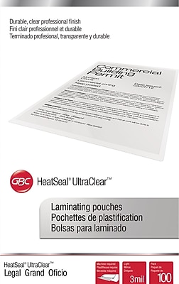 GBC® HeatSeal™ UltraClear™ Thermal Laminating Pouches, Legal, 3 mil, 100/pack