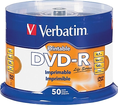 Verbatim 4.7GB White Inkjet Printable DVD-R Spindle, 50/Pack (98472)