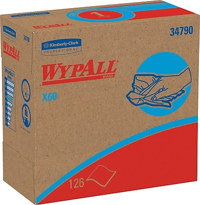 WypAll* X60 Reusable Wipers, Pop-Up* Box, White, 10 Packs/Case (34790)