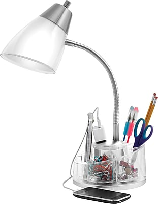 Organizer Desk Lamp with Power Outlet Staples