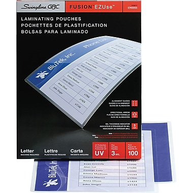 Swingline™ GBC® EZUse™ Thermal Laminating Pouches, Letter Size, 3 mil, 100 Pack