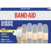 "BAND-AID Brand Sheer Strips Adhesive Bandages, 3/4 x 3"", 100 Count/Box (Model: 4634)"