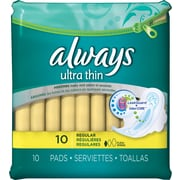 Always® Ultra Thin Regular Pads w/Wings, 10/Bx