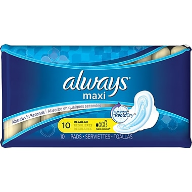 Always® Maxi Regular Pads w/Wings, 10/Bx