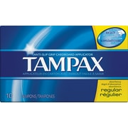 Tampax Cardboard Applicator Tampons, Regular, 10/Box