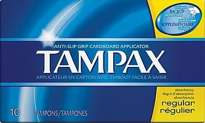 Tampax Cardboard Applicator Tampons, Regular, 10/Box