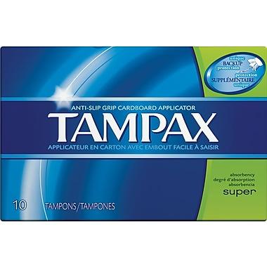 Tampax Cardboard Applicator Tampons, Super, 10/Bx