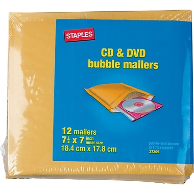 Staples CD Bubble Mailer, Gold Kraft, Peel and Seal Strip, 7 1/4