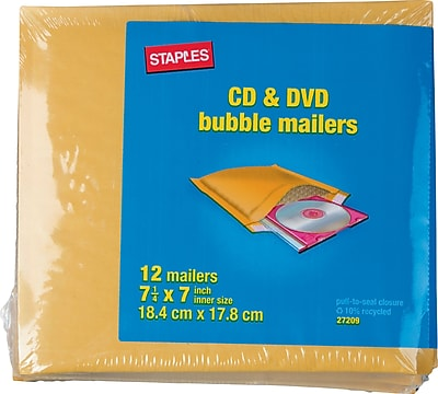 Staples CD Bubble Mailer, Gold Kraft, Peel and Seal Strip, 7-1/4