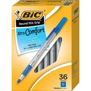 BIC Round Stic Grip Xtra Comfort Ballpoint Pen, Blue, 1.2mm, Medium, 36/pack