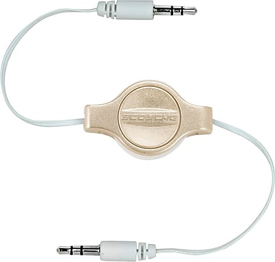 Scosche Retractable 3.5mm Auxiliary Audio Cable, Gold
