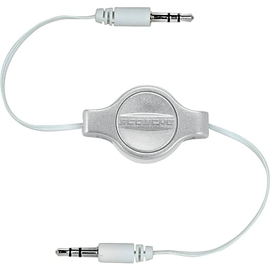 Scosche Retractable 3.5mm Auxiliary Audio Cable, Silver